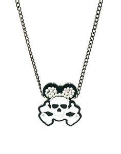 Image 1 ofFunky Bling Short Skull Necklace