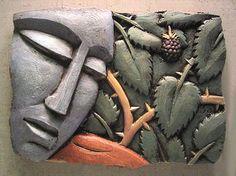 Fig by Steve Gardner (Ceramic Wall Sculpture) Clay Wall Art, Ceramic Wall Art, Mural Wall Art, Panel Wall Art, Ceramic Clay, Clay Art, Ceramic Pottery, Sculpture Clay, Wall Sculptures