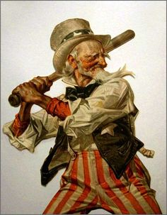 Uncle Sam at Bat.Even Uncle Sam loves baseball.after all, it is America's favorite past time! American Pride, American Flag, American History, I Love America, God Bless America, Vintage Cards, Vintage Images, Caricatures, Baseball Art