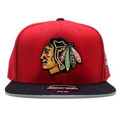 62c316efedfcf American Needle Chicago Blackhawk NHL Flat Brim Chipper Snapback Hat Black  Hawk