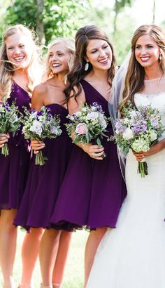 Eggplant purple wedding inspiration. Chic, short chiffon bridesmaid dresses with mix n match necklines. | Kennedy Blue Bridesmaids | Sarah Libby Photography