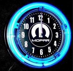 MOPAR LOGO BLUE NEON CLOCK - NEW! #fashion #home #garden #homedcor #clocks (ebay link)