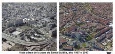 Vista aérea de la zona de Santa Eulália, año 1997 y 2017.