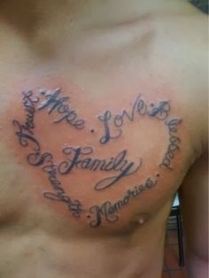 Life and family tattoo on chest