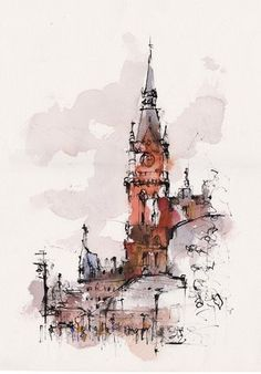 Outside St Pancras station in London -Done during the summer in the evening before getting a train back to Leicester. ink and watercolour by Emma Fitzpatrick via Urban Sketchers Group on Fb. Watercolor Trees, Watercolor Sketch, Watercolor Landscape, Watercolor Illustration, Watercolor Paintings, Simple Watercolor, Tattoo Watercolor, Watercolor Animals, Watercolor Background