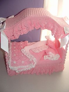 Handmade Barbie doll canopy bed in crochet by LiterallyFromHome