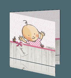 Klassiek babykaartje dochter met lichtroze ruitjes. #baby #meisjes #geboortekaartje #geboortekaartjes