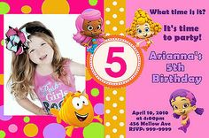BUBBLE GUPPIES BIRTHDAY PARTY INVITATIONS 24hr Service UPRINT 4x6 or 5x7