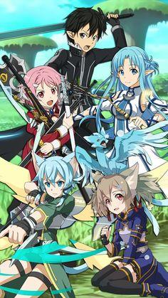 ALO ~ Sword Art Online, Wallpaper: Kirito, Lizbeth, Asuna, Sinon, Silica & Pia☮