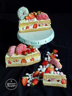 Amerikai fánkkal töltött epres torta / Strawberry cake stuffed with American doughnut Doughnut, Strawberry, Cake, Food, Kuchen, Essen, Strawberry Fruit, Meals, Torte