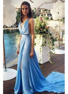USD$139.00 - Blue Chiffon 2015 Sexy Summer Evening Dresses with Long Train Deep V Neck Side Slit Open Back Popular Prom Dresses - www.suzhoudress.com