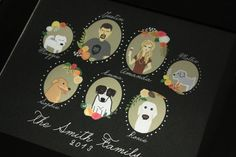 Custom Illustrated Family Portrait Profiles by chicksnhens on Etsy, $108.00