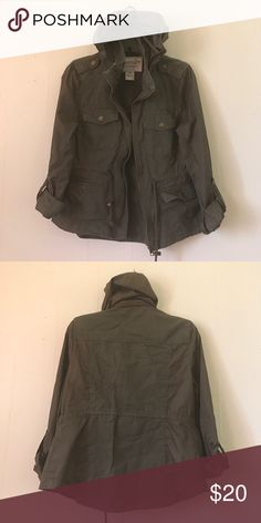 American Rag Olive Green Jacket Conches at waist | Button by arms | Zipper Design by hood | 100 % Cotton Shell | Contrast 100% Nylon | Price Negotiable American Rag Jackets & Coats Utility Jackets