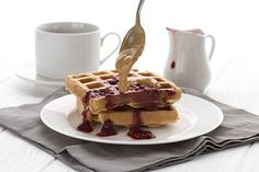 Low carb peanut butter blender waffles - they taste like a pb and j sandwich!