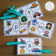 Beginning Sounds Clip Cards! Phonics + fine motor = hands on fun for your little learners! Phonemic Awareness Kindergarten, Kindergarten Language Arts, Preschool Literacy, Preschool Letters, Preschool Learning Activities, Alphabet Activities, Language Activities, Letter Sound Activities, Teaching Resources
