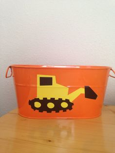 SALE TODAY ONLY Orange metal bucket yellow bulldozer party decor food server organizer boys room baby shower on Etsy, $22.00