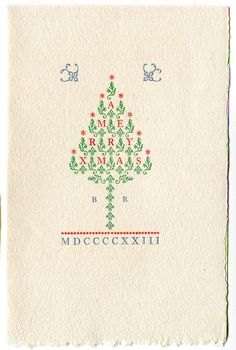1923 Christmas card by Bruce Rogers. The tree is made of printers' ornaments.