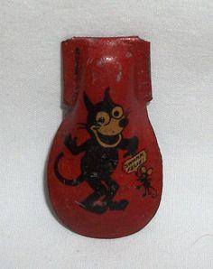 Vintage Tin Toy Noisemaker Clicker Felix the Cat Germany German Swank
