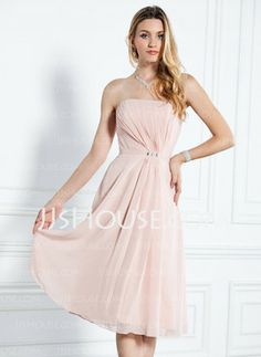 A-Line/Princess Strapless Knee-Length Chiffon Charmeuse Bridesmaid Dresses With Ruffle (007000916) - JJsHouse.com