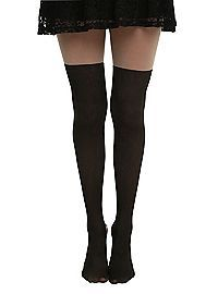 HOTTOPIC.COM - LOVEsick Faux Thigh High Lace-Up Tights