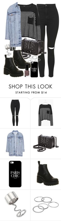 """Outfit with black jeans and Vagabond boots"" by ferned ❤ liked on Polyvore featuring Topshop, Madewell, Pull&Bear, Rebecca Minkoff, Casetify, Vagabond, Elizabeth and James, Apt. 9 and Bobbi Brown Cosmetics"