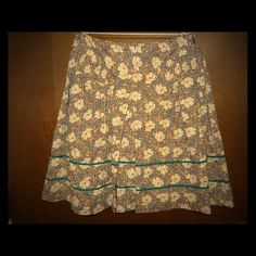 Anthropologie Lux Cotton Floral Skirt Peasant 7 Women's Anthropologie Lux Black White Teal Cotton Floral Full Skirt Peasant Boho Size 7 Anthropologie Skirts A-Line or Full