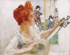 Woman with a Mandolin, Bertalan Karlovszky. Hungarian (1858-1938)