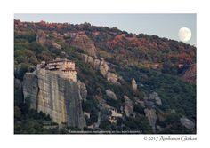 Waxing gibbous over Meteora monastery - null