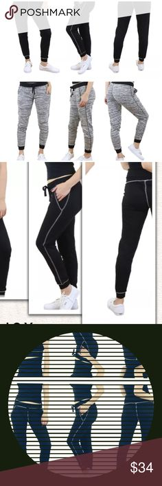 """Black and Grey Marled Skinny Joggers Wide waistband that ties.Material Cotton Rayon Spandex .  Approx 28"""" in length. Choose your color after clicking buy button 🚨PLEASE ORDER ONE SIZE UP🚨 @roedarry Pants Track Pants & Joggers"""