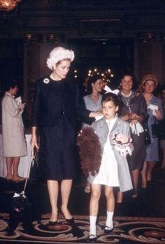 Princess Grace and nine year old Princess Caroline of Monaco. MONACO-1966