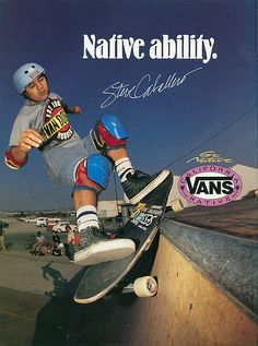 This magazine ad for Vans Shoes from 1989 features Steve Caballero. Skate Photos, Skateboard Pictures, Skateboard Art, Old School Skateboards, Vintage Skateboards, Original Skateboards, Skate And Destroy, Air Jordan, Skate Art