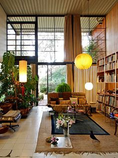 The Eames House is a National Historic Landmark of mid-century modern architecture and decor.