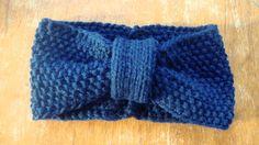 hand knit retro turban headband / navy blue / by purlknitting, $20.00