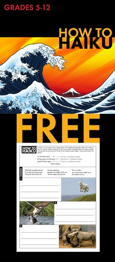 How to Haiku, Japanese Poetry Form Worksheet for Grades FREE Teaching Poetry, Teaching Language Arts, Writing Poetry, Teaching Writing, Teaching English, Poetry Unit, Expository Writing, Teaching Ideas, Poetry Lessons