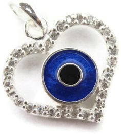 Silver evil eye pendant in the shape of a love heart from $15.95