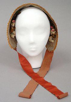 Bonnet Date: ca. 1844 Culture: American Medium: straw, silk