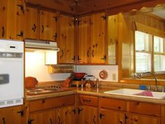 keeping knotty pine in 1940's kitchen - Google Search