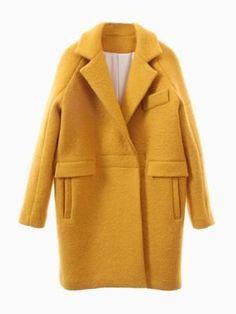 Yellow Woolen Longline Ovoid Coat
