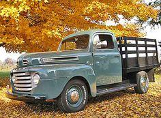 1950 Ford F1 Stake Pickup 1950 Ford Pickup, Vintage Pickup Trucks, Old Ford Trucks, Antique Trucks, Farm Trucks, Car Ford, Cool Trucks, Station Wagon, Roadster Car