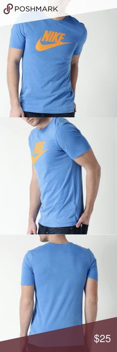 Nike SOLSTICE FUTURA Men's Cotton Blue Shirt The Nike Solstice Futura Men's T-Shirt was designed with comfort in mind.   Cotton jersey fabric works in conjunction with a classic, crew neck fit to create a shirt that feels as good as it looks.  Cotton jersey fabric offers all day comfort Ribbed crew neck provides a nonrestrictive fit Nike Swoosh Logo is printed on the front  Fabric: 100% Cotton Color: Photo Blue/Orange  New with Tag Nike Shirts Tees - Short Sleeve