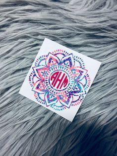 3e7d4b61f48 Mandala Monogram/Mandalas/Monogram Decal/Cup Decal/Floral Decal/Car Decal