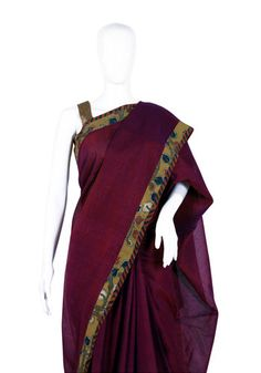 Tussar Silk Handpainted Kalamkari Saree – Desically Ethnic