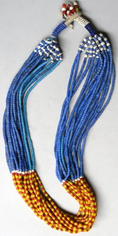 Nigeria, Africa: Fulani necklace, 18 strands of European glass beads and twine African Trade Beads, African Jewelry, Tribal Jewelry, Beaded Jewelry, Beaded Necklaces, Jewellery, Diy Jewelry, Collar Hippie, Moda Fashion