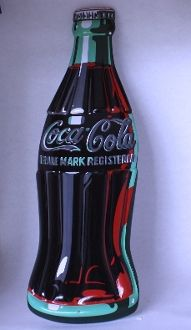 Coke Bottle Die Cut Metal Embossed Sign. - Junk Drunk Jones