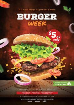 Burger Specials, Restaurant Specials, Restaurant Flyer, Food Graphic Design, Food Menu Design, Food Poster Design, Poster Designs, Gros Morne, Bio Food