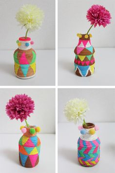 DIY: Painted mini vases made with PET bottles and paper twine- diy flesjes Fun Crafts, Diy And Crafts, Crafts For Kids, Arts And Crafts, Kids Diy, Decor Crafts, Diy Projects To Try, Craft Projects, Wrapped Wine Bottles