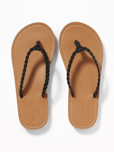 85fd8026c1c Braided Metallic Faux-Leather Flip-Flops for Girls