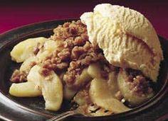 Apple Crisp. Jonathan made this last night and it is YUM!! We just need vanilla ice cream!