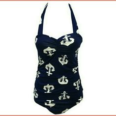 Navy Blue Anchor Suit NWT! Navy Blue Suit with White Anchors Swim