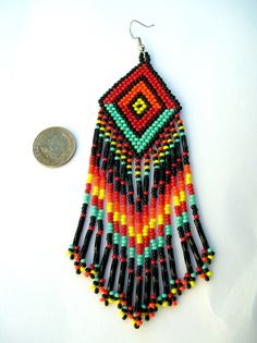 MADE To ORDER Indian Style Rainbow Colored Fringed Brick Stich Seed Beaded Earrings